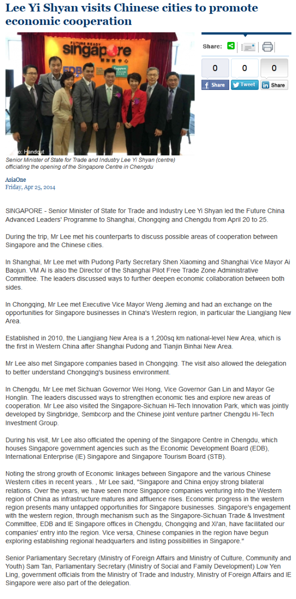 25 Apr 2014 : AsiaOne – Lee Yi Shyan visits Chinese cities to promote economic cooperation
